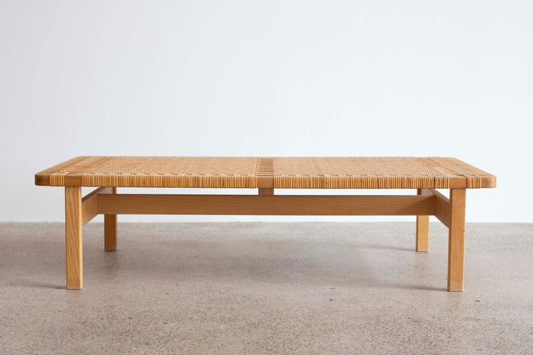 Rare large version of the Børge Mogensen bench.   Original patinated oak and woven cane. Designed by Børge Mogensen 1955 and made at Fredericia Stolefabrik, Denmark.  Very fine condition.