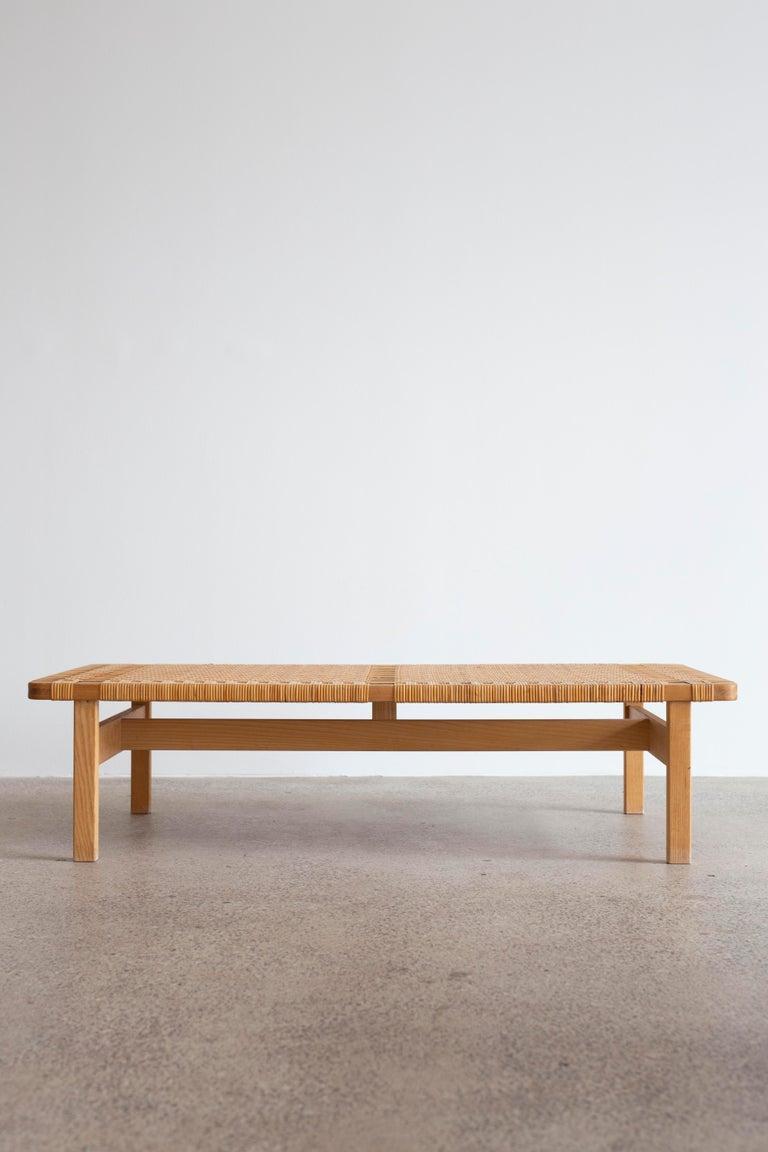 Scandinavian Modern Rare Large Børge Mogensen Bench in Oak and Cane, 1955 For Sale