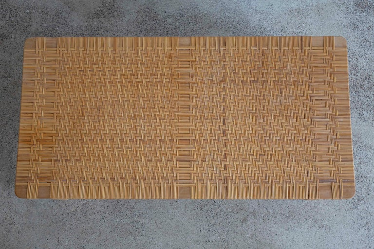 Rare Large Børge Mogensen Bench in Oak and Cane, 1955 In Good Condition For Sale In Copenhagen, DK