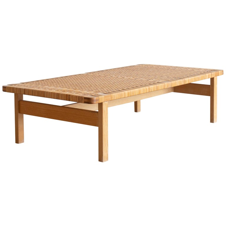 Rare Large Børge Mogensen Bench in Oak and Cane, 1955 For Sale