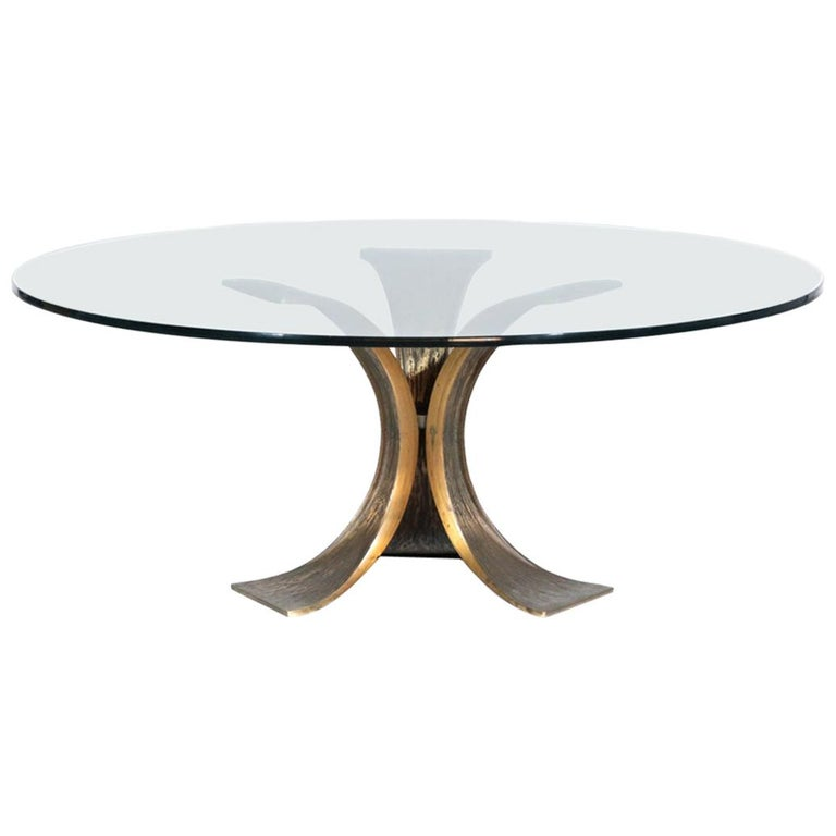 Rare Large Bronze Coffee Table 1960s Willy Ceysens Style Vintage For Sale