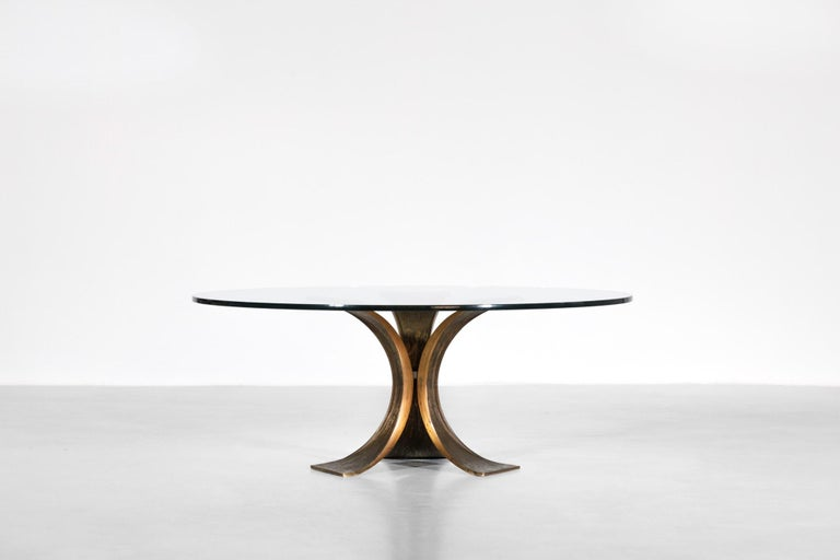 Rare Large Bronze Coffee Table 1960s Willy Ceysens Style Vintage For Sale 4