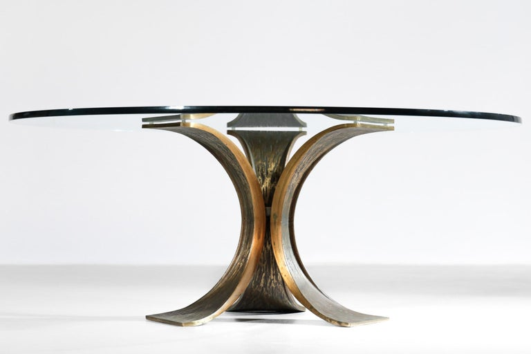 Rare Large Bronze Coffee Table 1960s Willy Ceysens Style Vintage For Sale 5