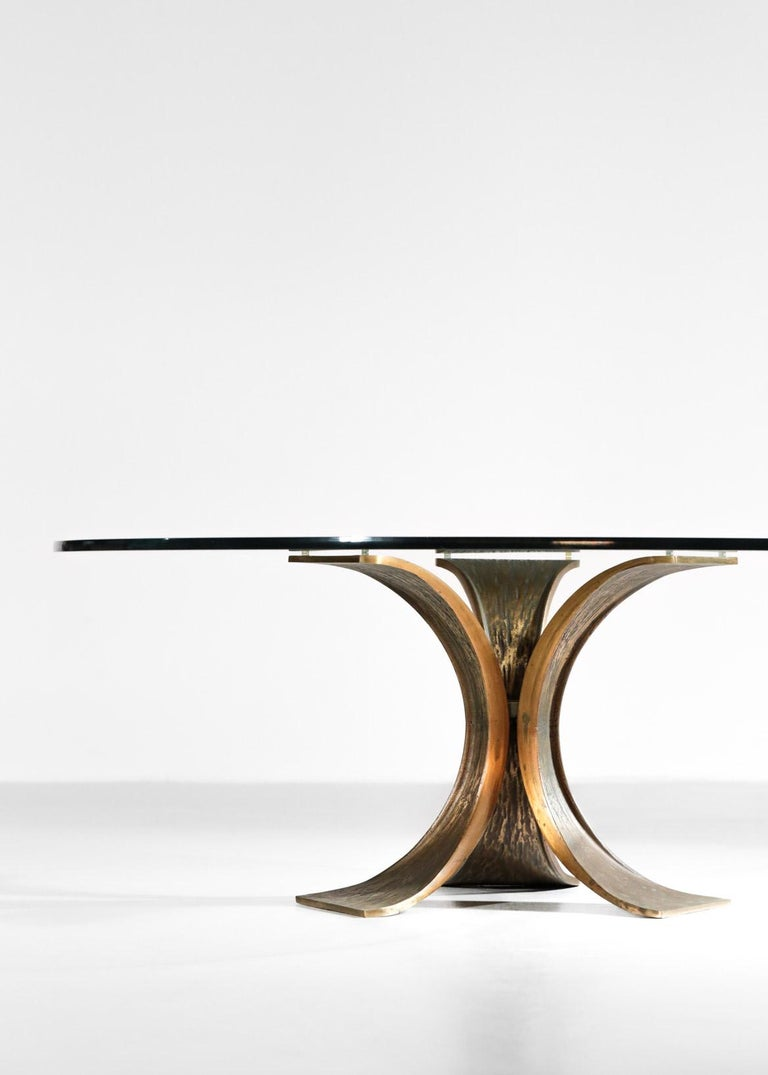 Rare Large Bronze Coffee Table 1960s Willy Ceysens Style Vintage For Sale 7