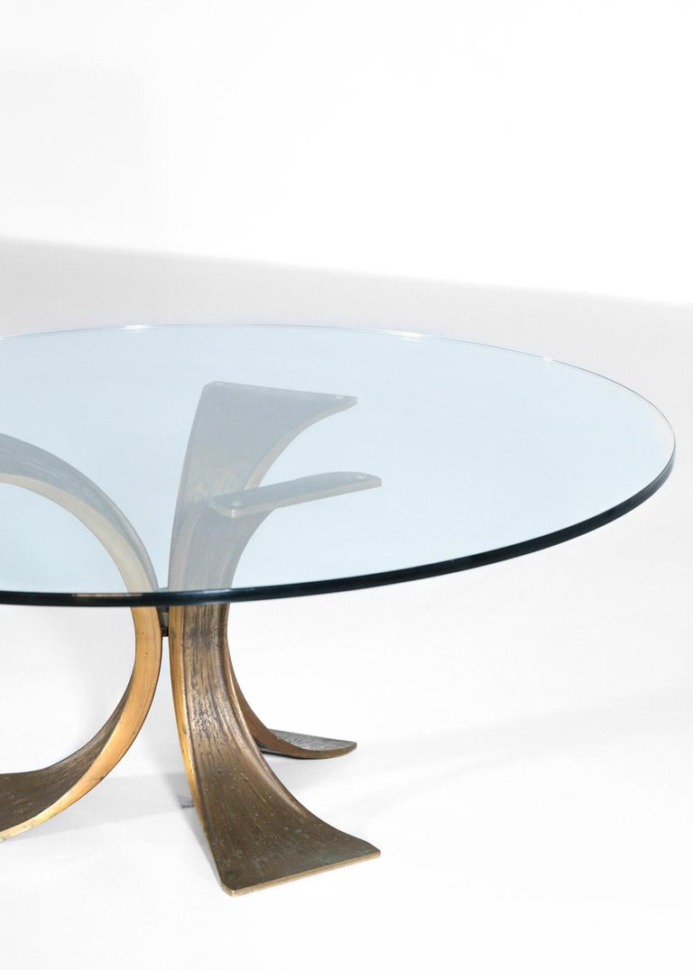 Mid-Century Modern Rare Large Bronze Coffee Table 1960s Willy Ceysens Style Vintage For Sale