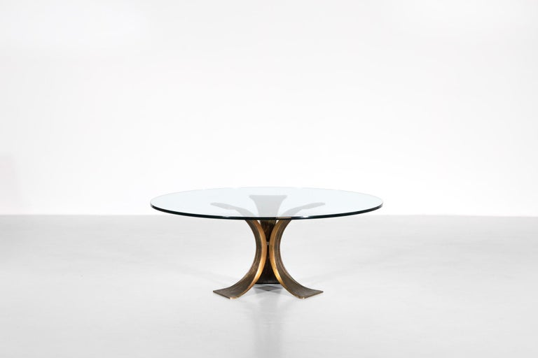 European Rare Large Bronze Coffee Table 1960s Willy Ceysens Style Vintage For Sale
