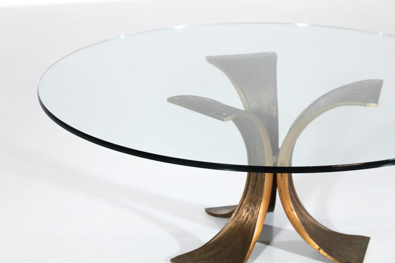 Rare Large Bronze Coffee Table 1960s Willy Ceysens Style Vintage In Excellent Condition For Sale In Lyon, FR