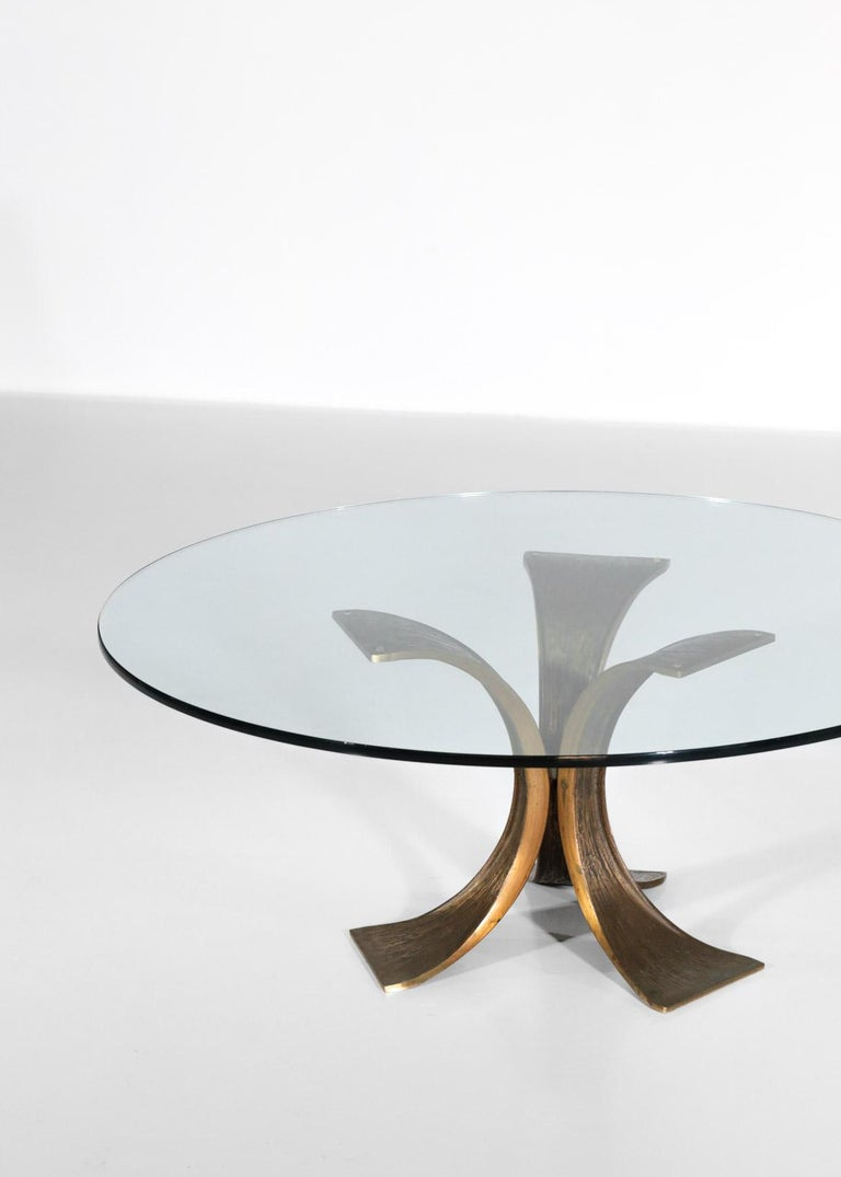 Rare Large Bronze Coffee Table 1960s Willy Ceysens Style Vintage For Sale 1