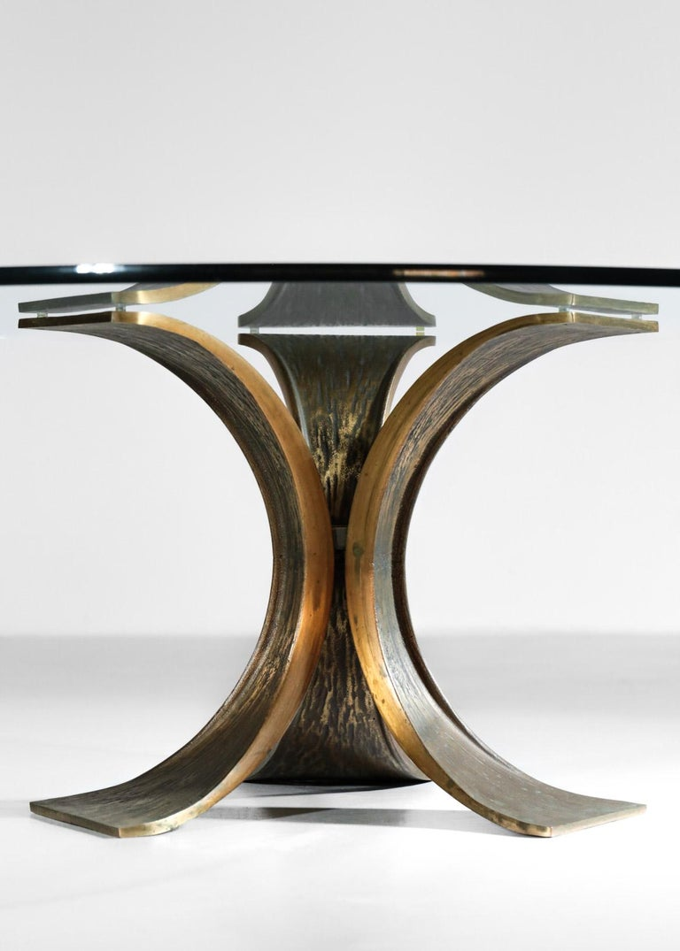 Rare Large Bronze Coffee Table 1960s Willy Ceysens Style Vintage For Sale 2