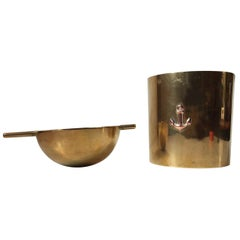 Rare Large Cylinda-Line Brass Cigar Ashtray by Arne Jacobsen for Stelton, 1960s