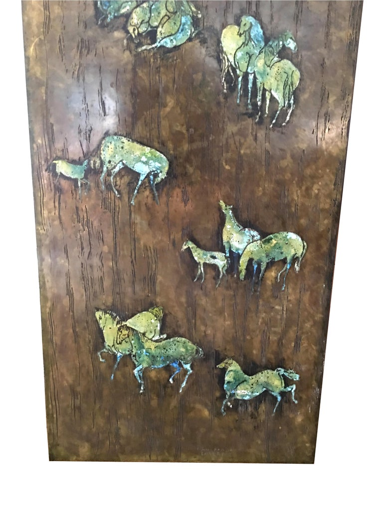 Mid-Century Modern Rare Large Etched Bronze Polychrome Wall Plaque by Philip & Kelvin LaVerne For Sale
