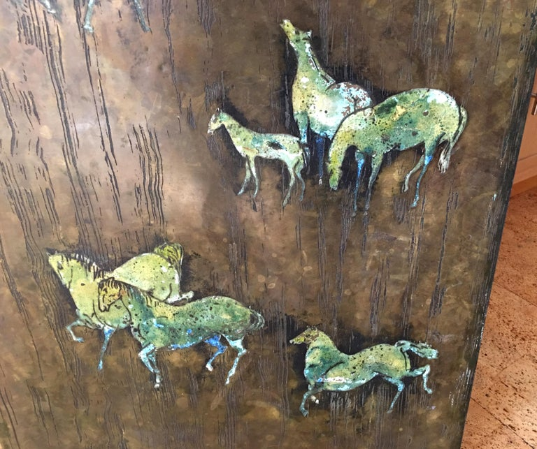 American Rare Large Etched Bronze Polychrome Wall Plaque by Philip & Kelvin LaVerne For Sale