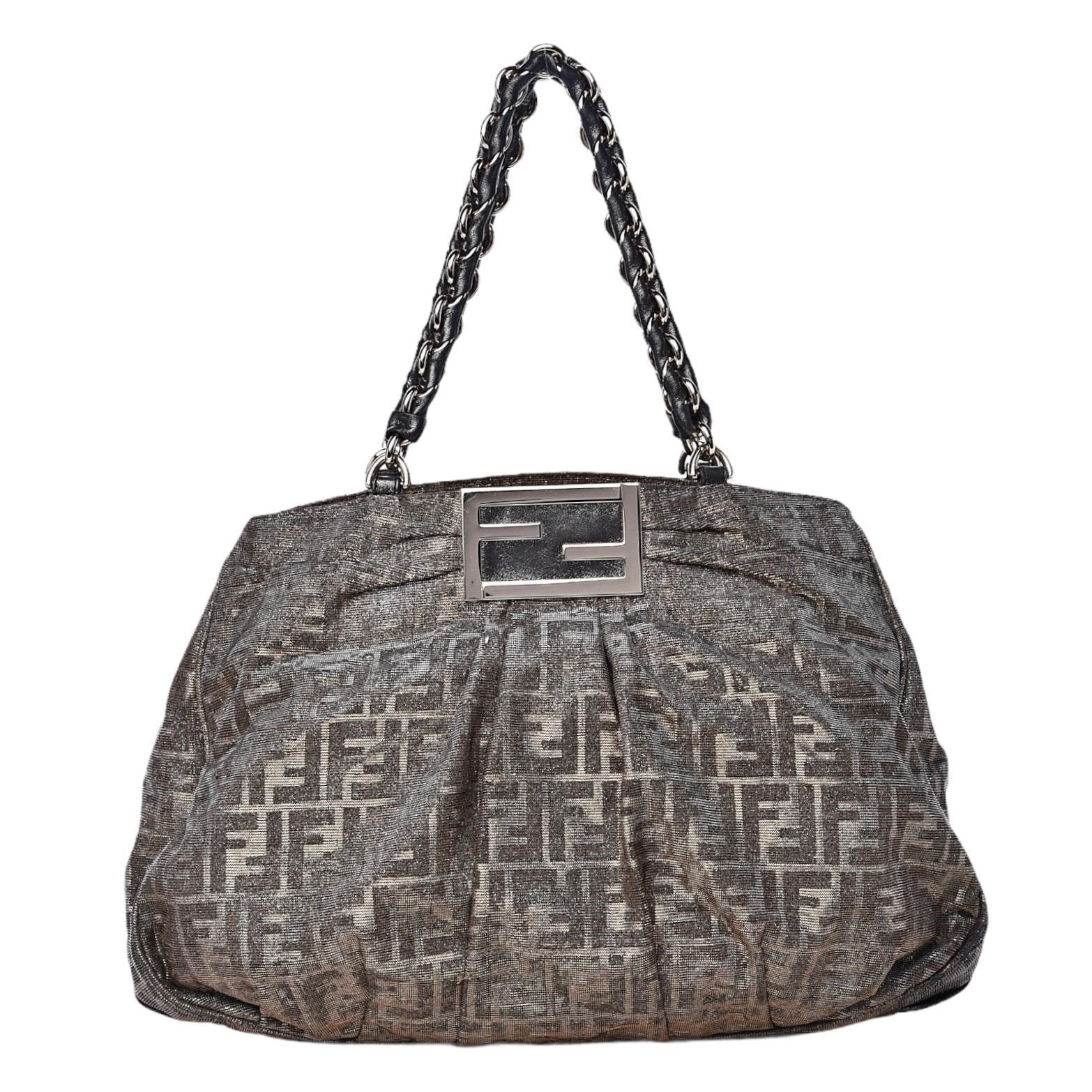 Rare Large FENDI Metallic Lurex Zucca Print Shoulder Bag