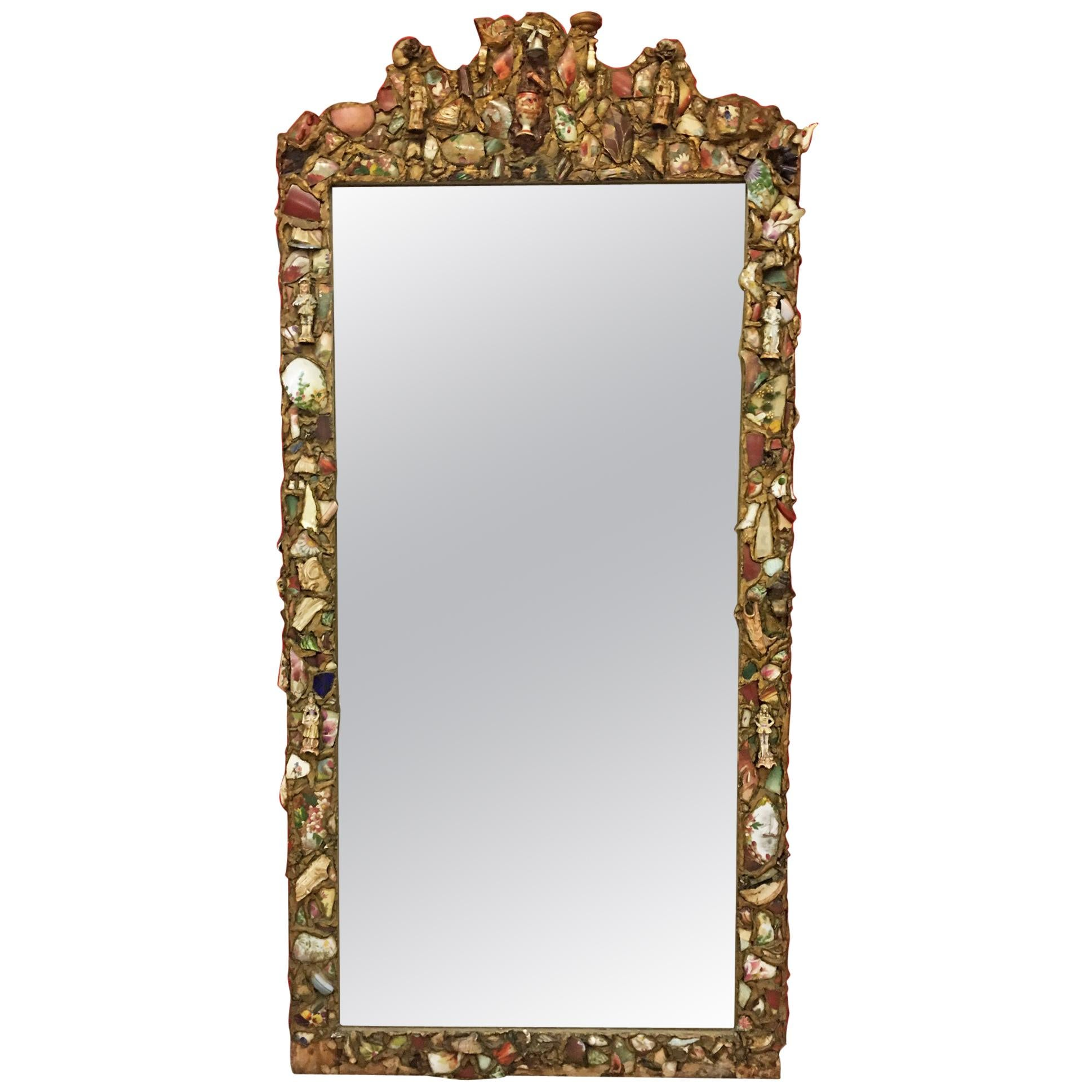 Rare Large Folk Art Mirror circa 1900, the Frame Is Composed of a Mosaic
