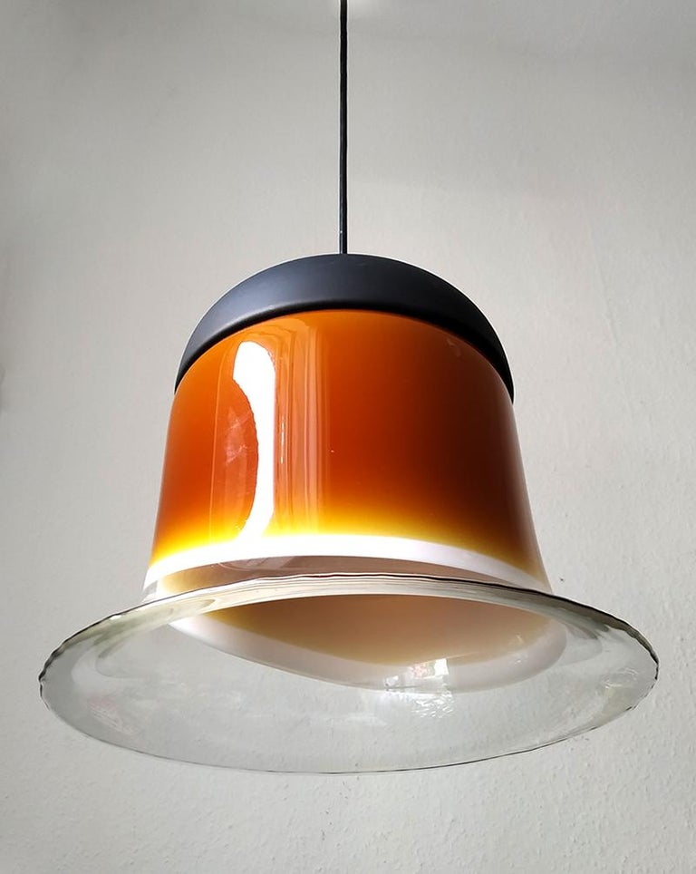 Mid-Century Modern Rare Large German Vintage Blown Glass Ceiling Hanging Pendant Light, 1960s For Sale