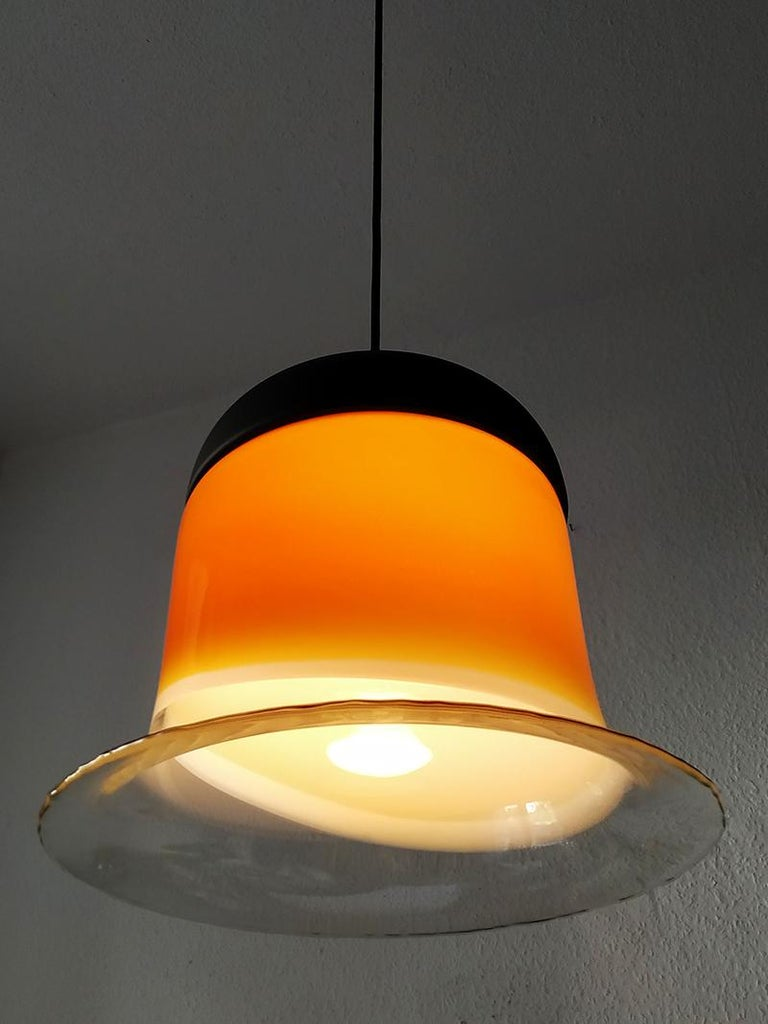 Rare Large German Vintage Blown Glass Ceiling Hanging Pendant Light, 1960s In Excellent Condition For Sale In Berlin, DE