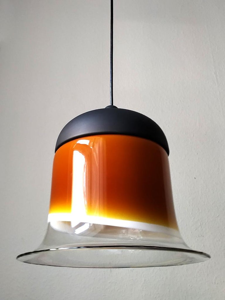 Mid-20th Century Rare Large German Vintage Blown Glass Ceiling Hanging Pendant Light, 1960s For Sale