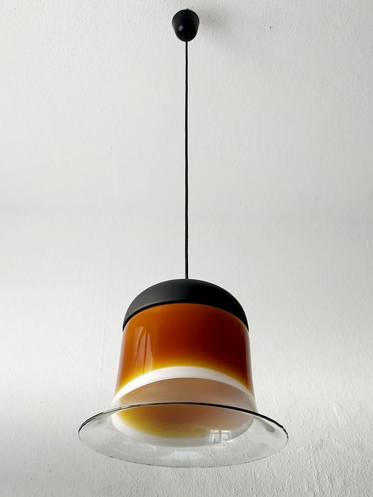 Metal Rare Large German Vintage Blown Glass Ceiling Hanging Pendant Light, 1960s For Sale