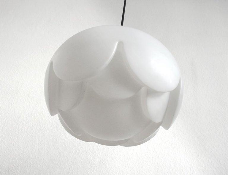 Chrome Rare Large German Vintage Blown Glass Ceiling Hanging Pendant Light, 1960s