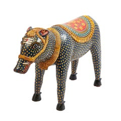 "Rare Large Indian Ceremonial Wooden Painted Boar ""Varaha"", 20th Century"