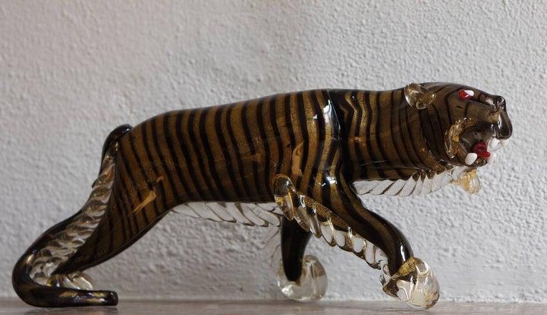 Mid-Century Modern Rare Large Italian Murano Art Glass Tiger Sculpture For Sale