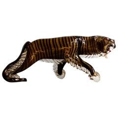 Rare Large Italian Murano Art Glass Tiger Sculpture