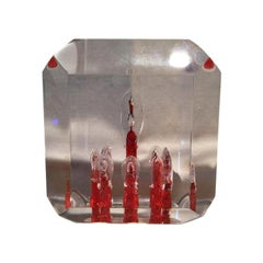 Rare Large Lucite Cube Paperweight-Red and Clear