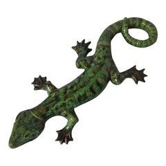 Rare Large Majolica Palissy Lizard Figure