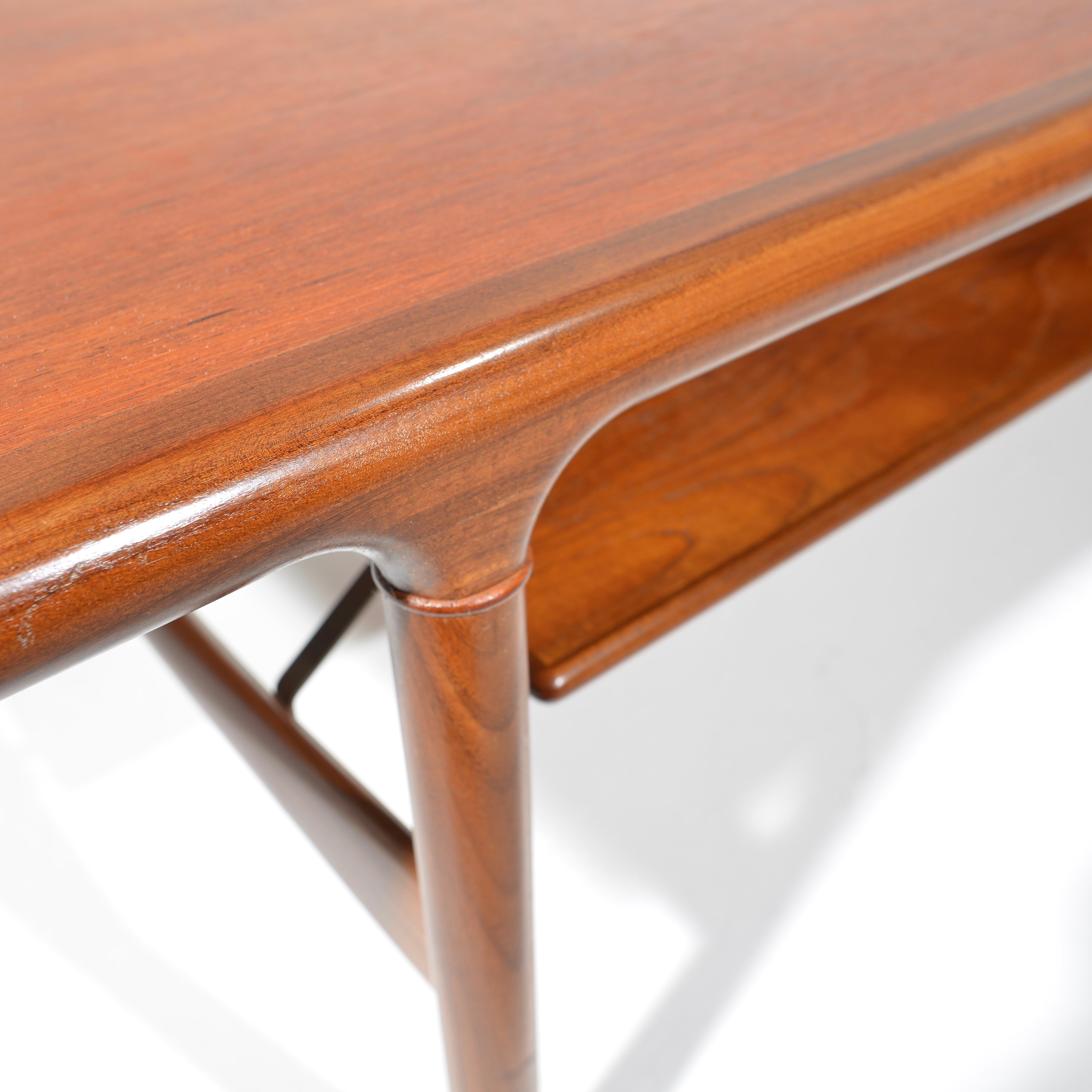 Rare Large Midcentury Extending Teak Coffee Table With Floating Shelf