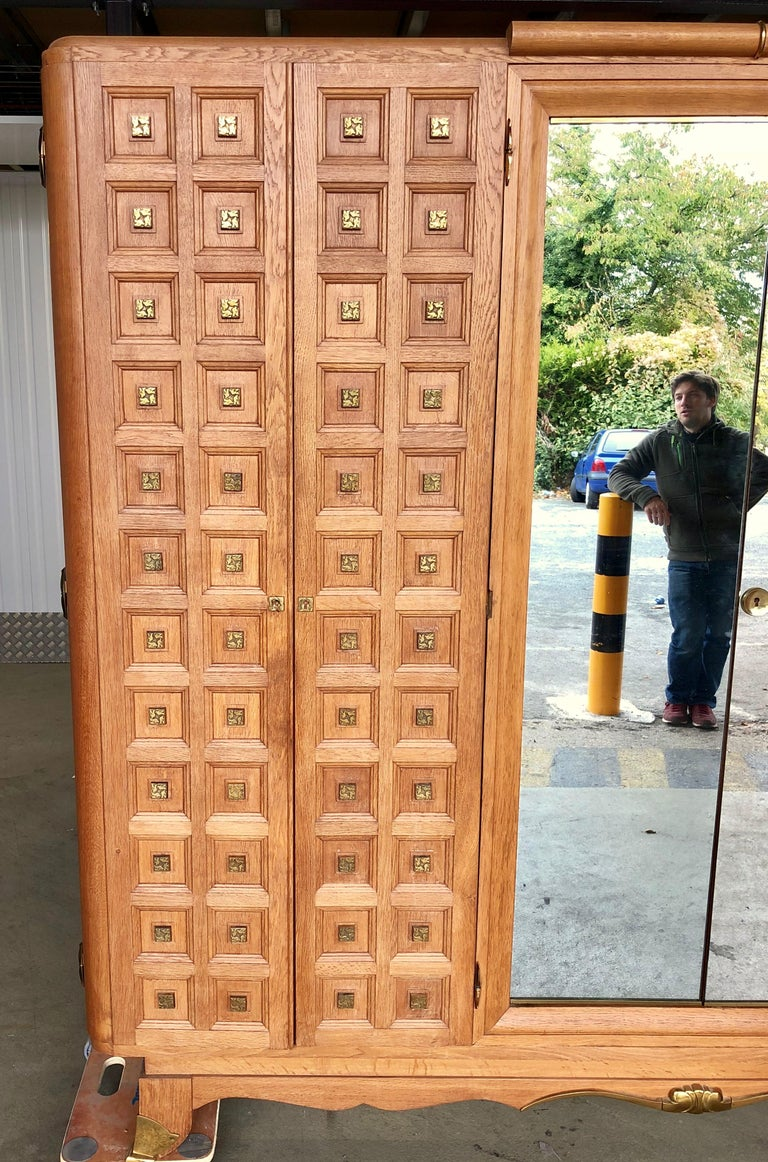 Rare Large Mirrored French Art Deco Wardrobe in Solid Oak and Brass, 1940s For Sale 3