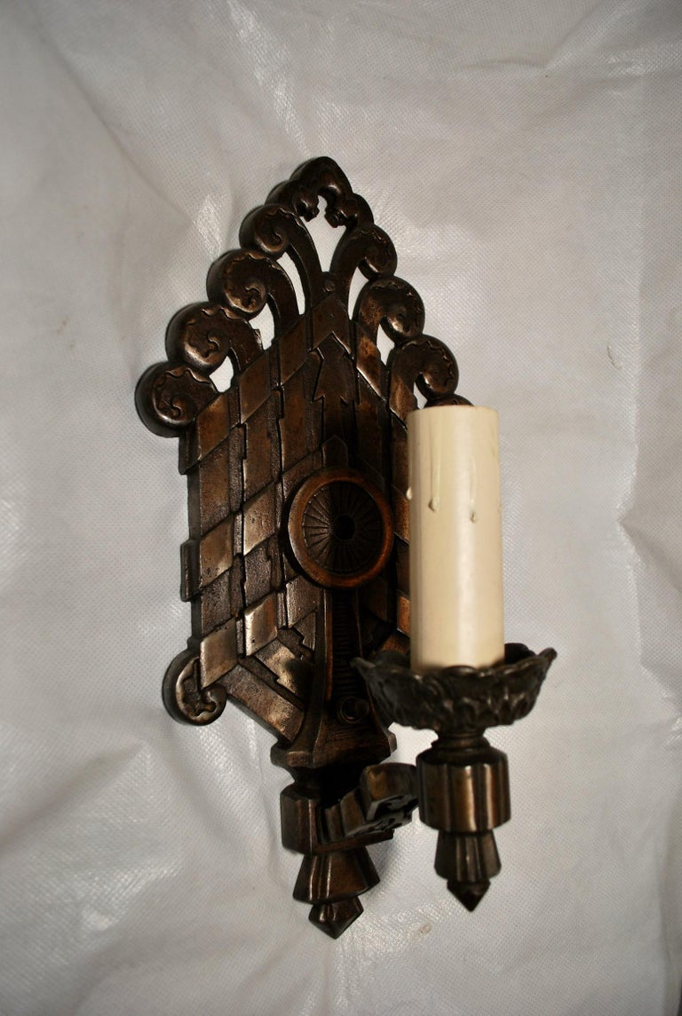 Early 20th Century Rare Large Pair of 1920s Cast Iron Sconces For Sale