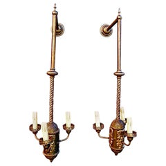 Rare Large Pair of 1930s  Brass  Sconces