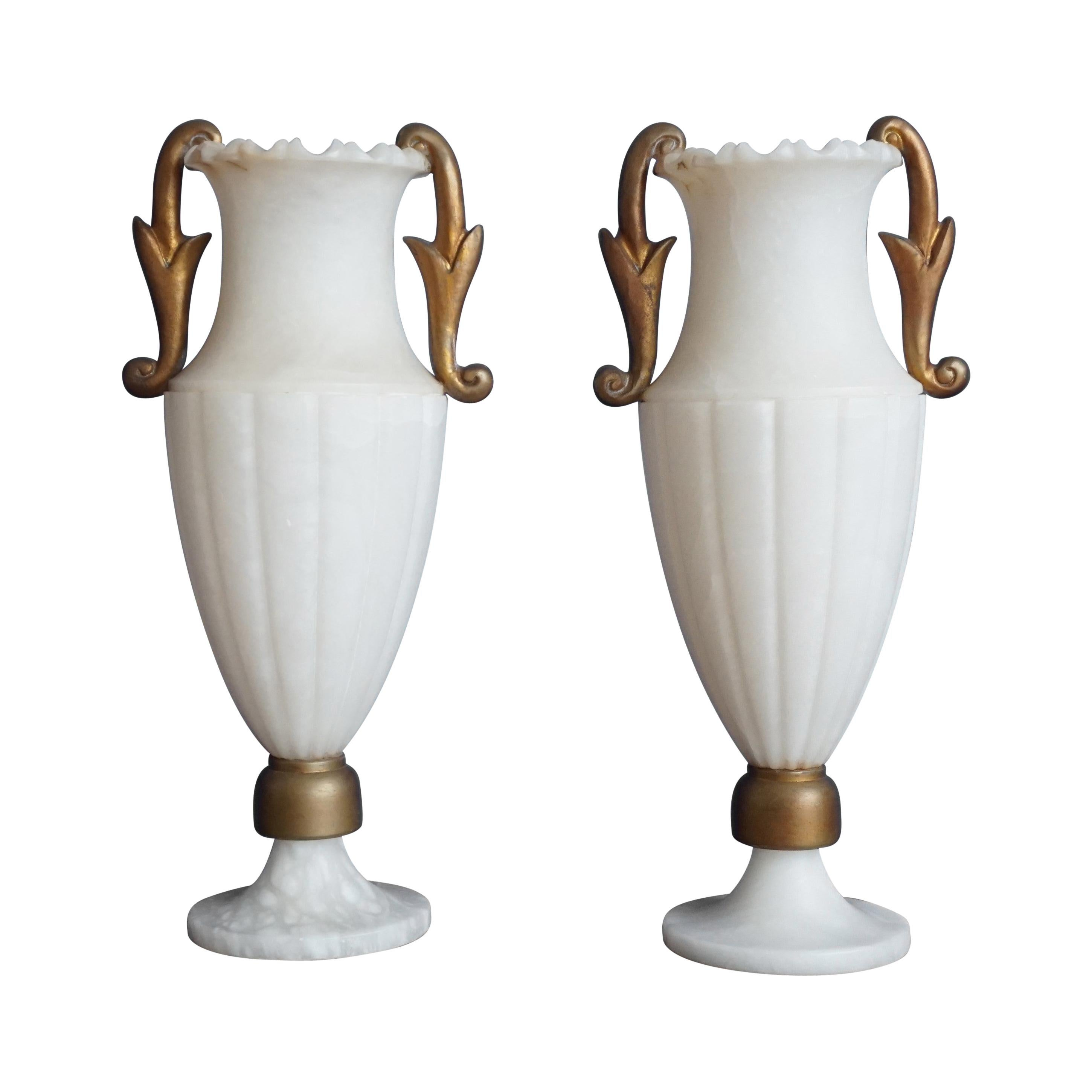 Rare & Large Pair of Hollywood Regency Handcrafted Alabaster Table Lamps, 1970s