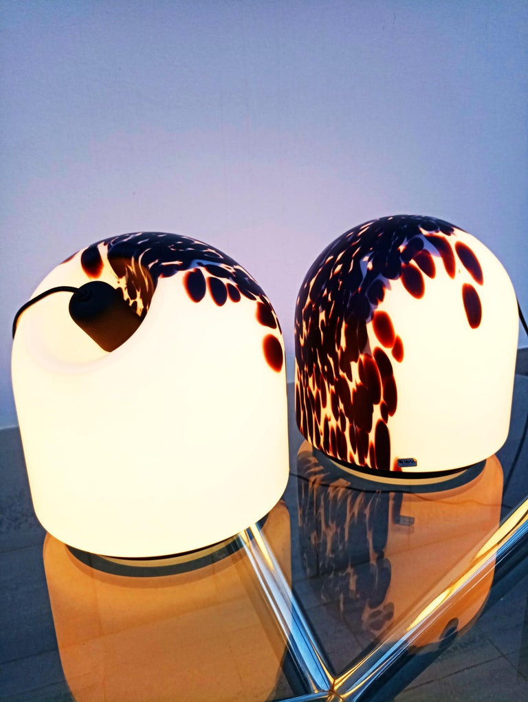 Rare Large Pair of Veart Murano Table Lamps, Italy, 1970s For Sale 7