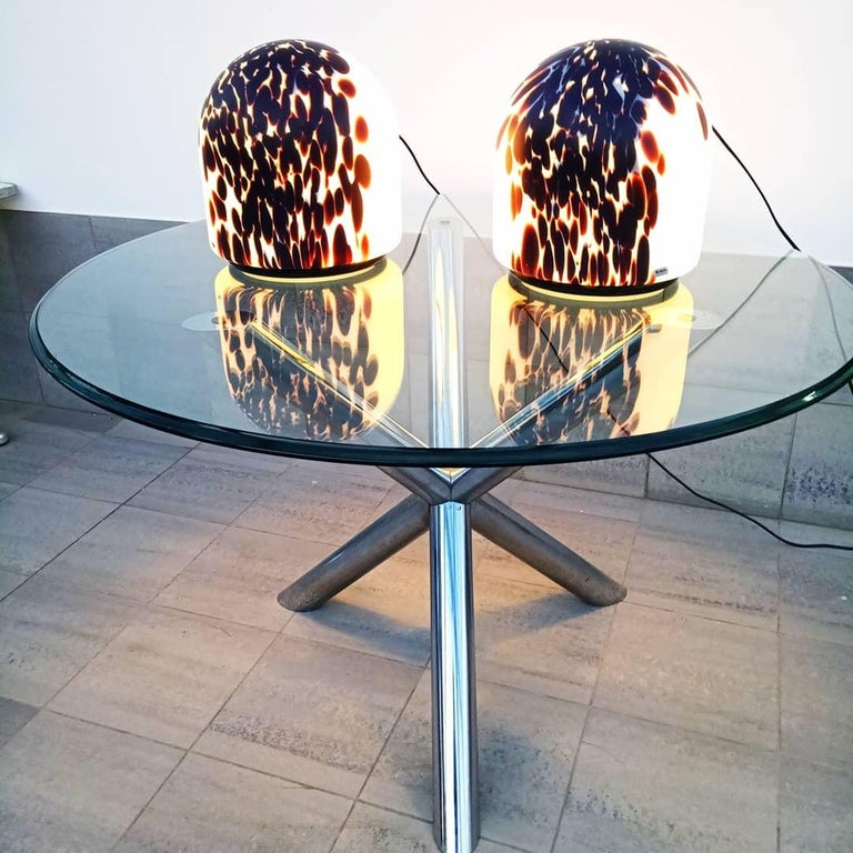 Rare Large Pair of Veart Murano Table Lamps, Italy, 1970s For Sale 8