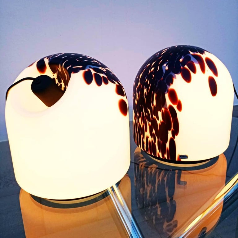Rare Large Pair of Veart Murano Table Lamps, Italy, 1970s For Sale 11
