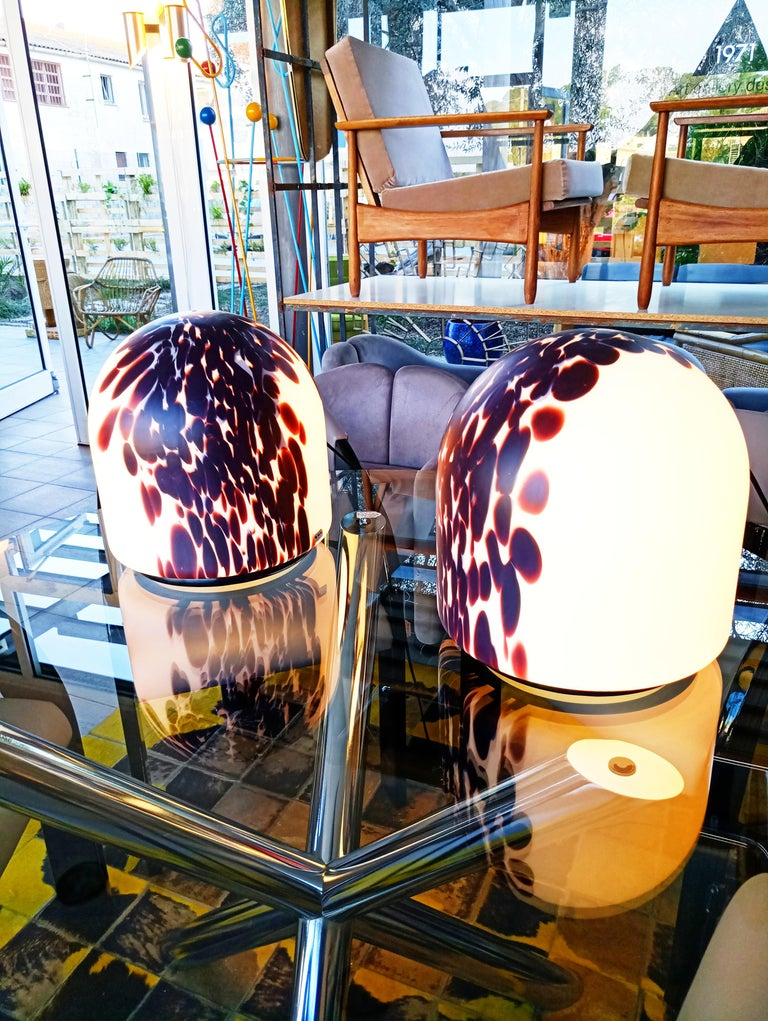 20th Century Rare Large Pair of Veart Murano Table Lamps, Italy, 1970s For Sale