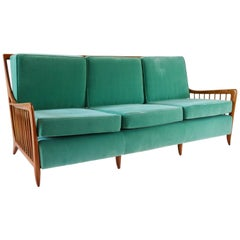 Rare Large Paolo Buffa Cherrywood Green Sofa, 1940