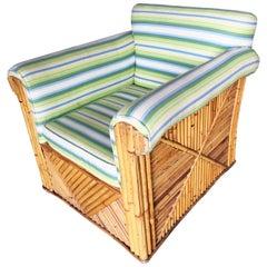 "Rare Large Rattan ""Big Papa Club"" Lounge Chair"