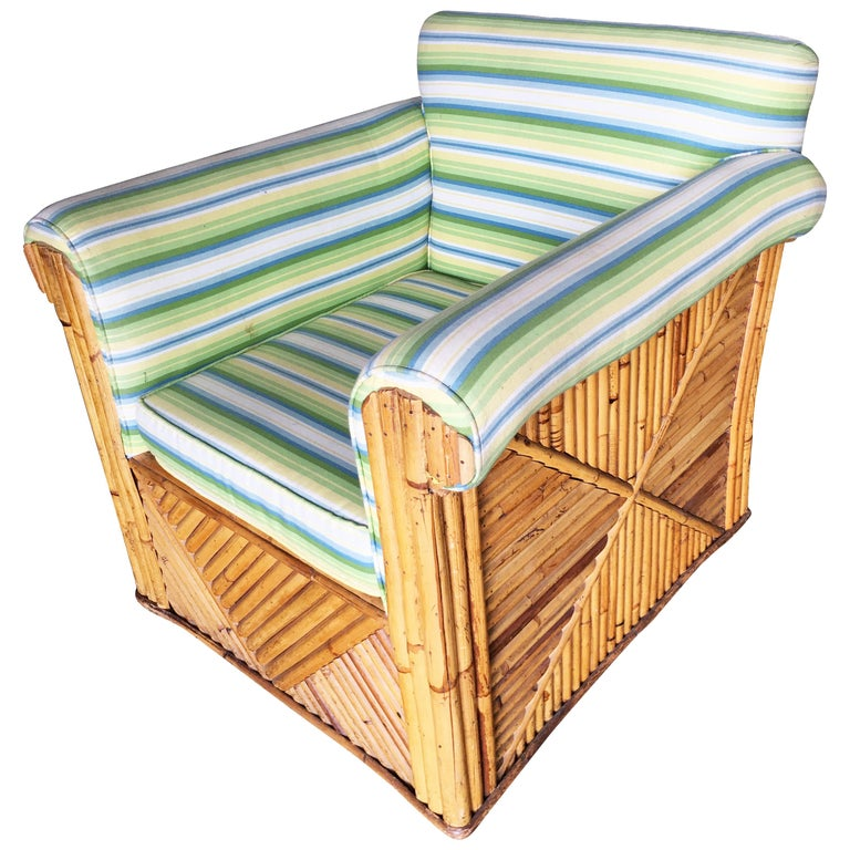 "Rare Large Rattan ""Big Papa Club"" Lounge Chair For Sale"