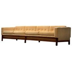 Rare Large Saporiti Sofa Reupholstered in Yellow Velvet