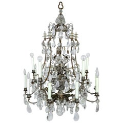 Rare Large Silver Gilt Bronze Rock Crystal Flower Bouquet 20-Light Chandelier