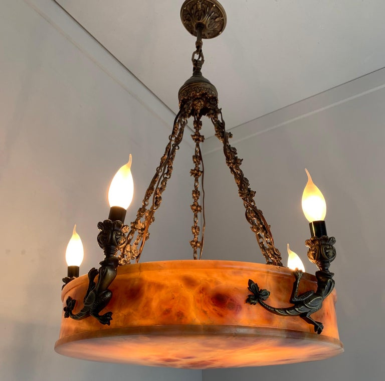 Rare, circa 1900 Alabaster Pendant Light, Chandelier with Lizard Sculptures For Sale 3