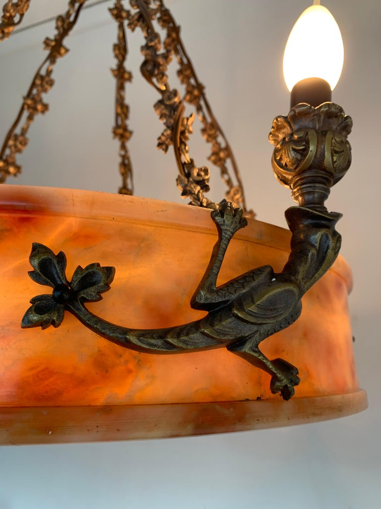 Rare, circa 1900 Alabaster Pendant Light, Chandelier with Lizard Sculptures For Sale 4