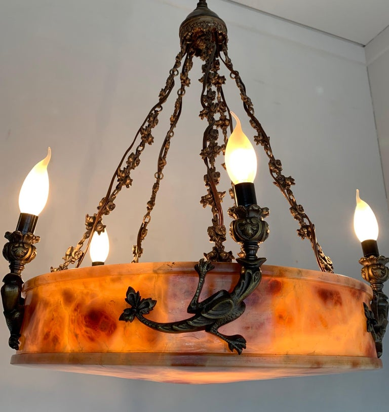 Rare, circa 1900 Alabaster Pendant Light, Chandelier with Lizard Sculptures For Sale 7