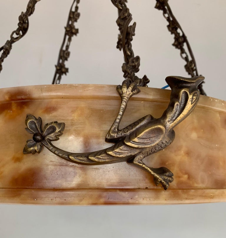 Rare, circa 1900 Alabaster Pendant Light, Chandelier with Lizard Sculptures For Sale 10