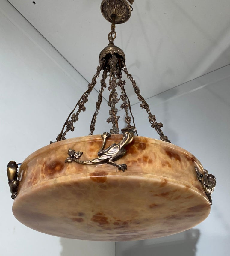 Rare, circa 1900 Alabaster Pendant Light, Chandelier with Lizard Sculptures For Sale 12