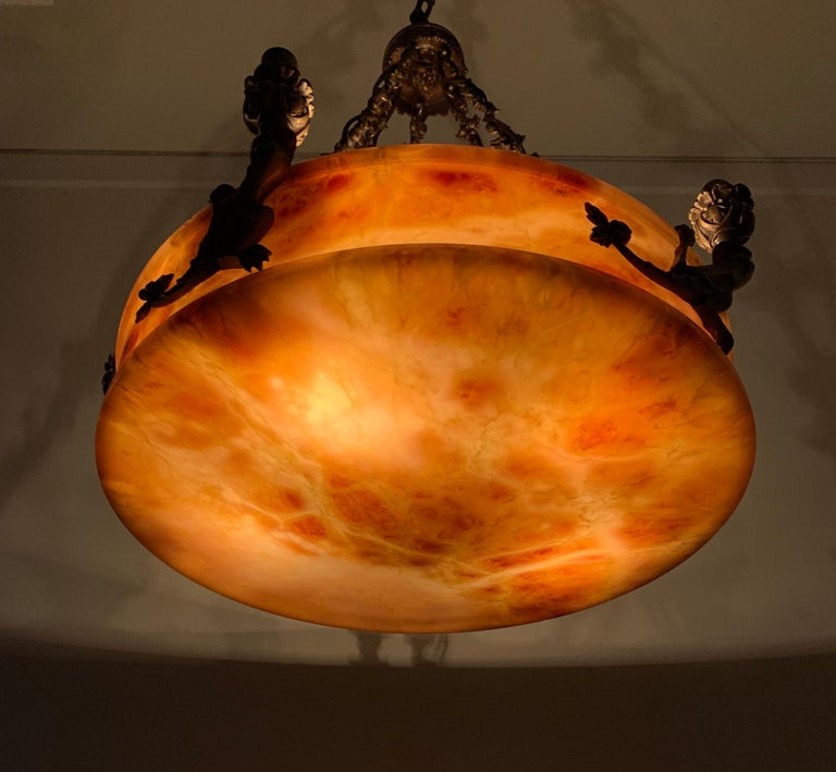 Hand-Carved Rare, circa 1900 Alabaster Pendant Light, Chandelier with Lizard Sculptures For Sale