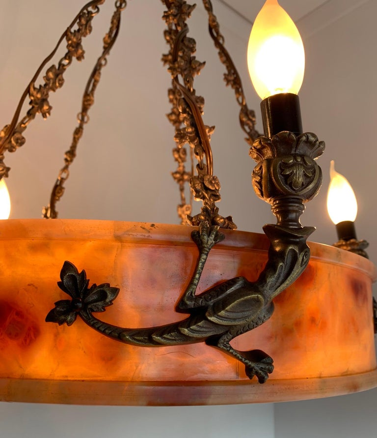 Rare, circa 1900 Alabaster Pendant Light, Chandelier with Lizard Sculptures For Sale 1