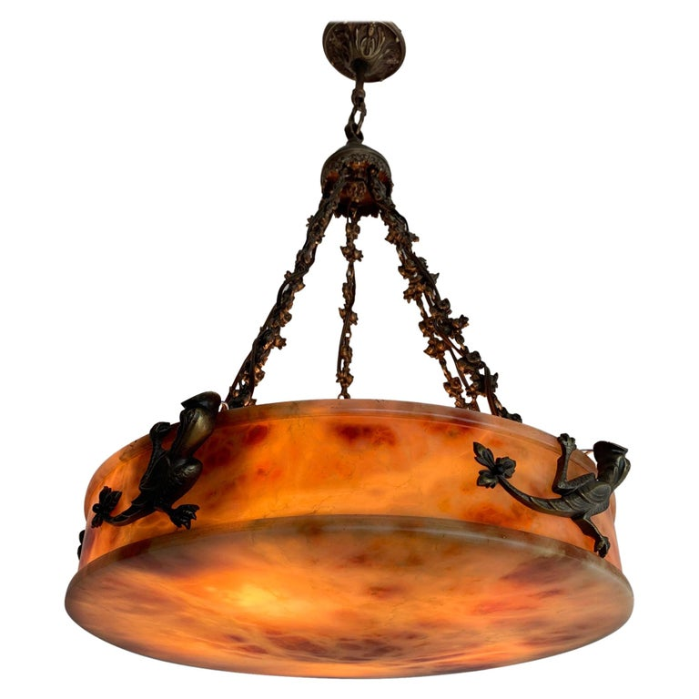 Rare, circa 1900 Alabaster Pendant Light, Chandelier with Lizard Sculptures For Sale